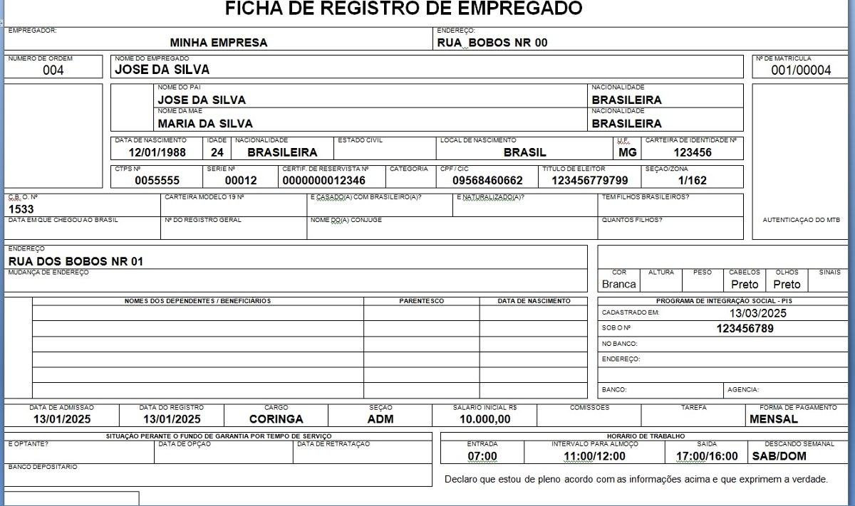 Registro De Empregado Ficha Em Arquivo Doc 12x Cartão