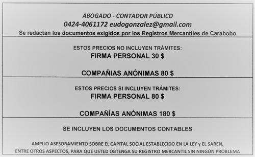 registro mercantil firma personal, compañías, actas carabobo