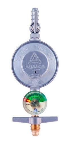 registro regulador gás 504/01 aliança 1kg/h c/ manometro