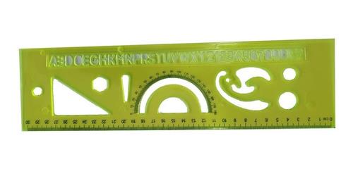 regla 30cm letras y figuras geometricas escuadra