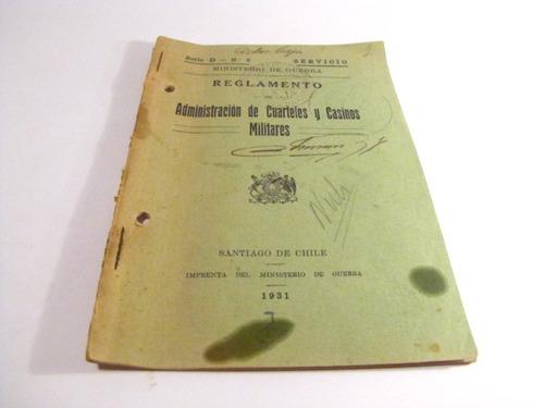 reglamento cuarteles y casinos militares. 1931