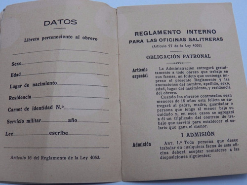 reglamento interno para las oficinas salitreras, año 1929