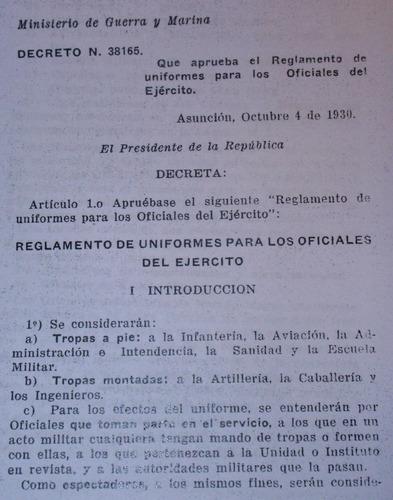 reglamento uniformes ejercito paraguay 1930 guerra del chaco