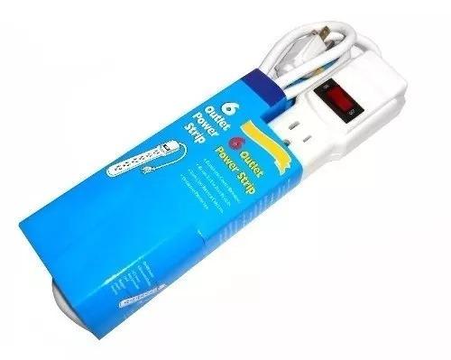 regleta electrica 6 tomas de corriente y swich  1mtr
