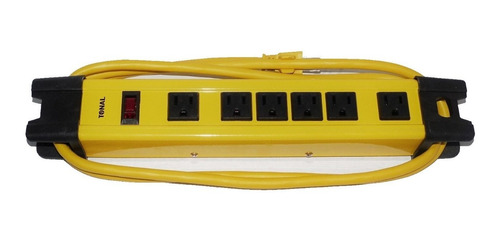 regleta industrial multitoma tonal de 6 salidas - amarillo