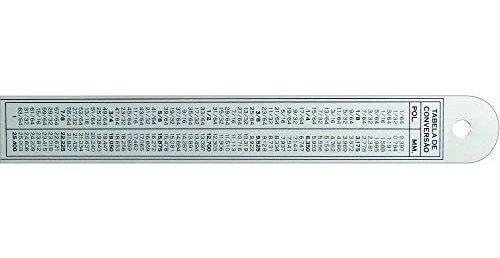 régua de alumínio anodizado 20cm tabela de conversão trident