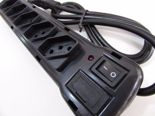 régua filtro de linha 5 tomadas plastico fiolux (5 peças)
