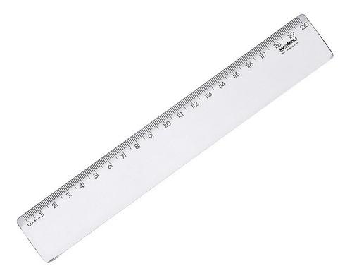 régua plástica 20cm cristal - waleu - pcte c/ 25 unidades