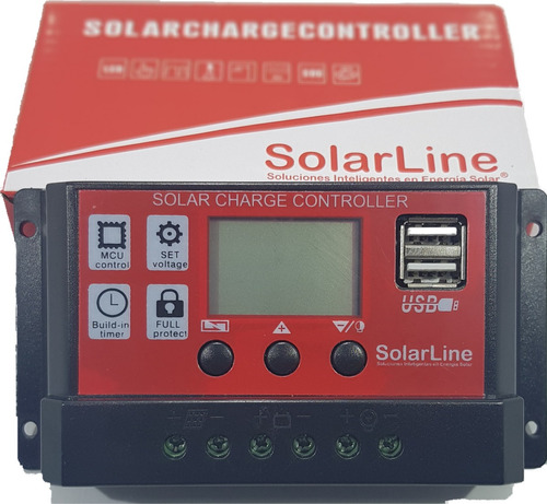 regulador de carga p/ panel solar 12v 4 a 10 amper solarline