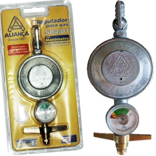 regulador de gás c/ manômetro aliança 504/01  medio selo inm