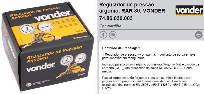 Regulador De Pressão Argônio Rar Solda Mig 30 Vonder