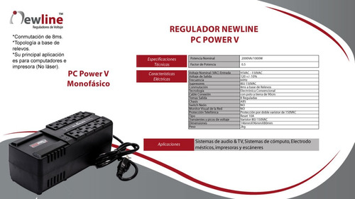 regulador de voltaje 2000w new line pc power v