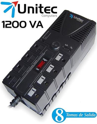 regulador de voltaje 8 tomas unitec u-1200 supresor de picos