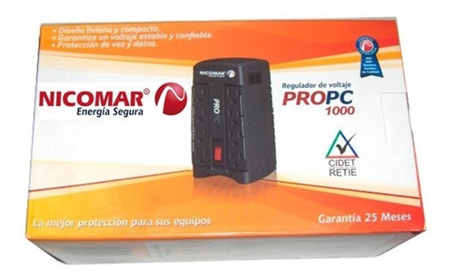 regulador de voltaje nicomar 1000va 120v estabilizador 8 tom
