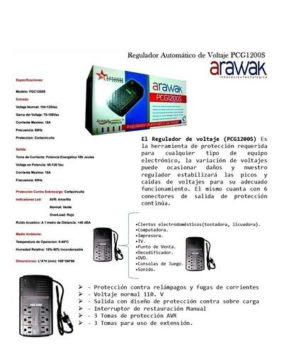 regulador de voltaje protector 6 tomas