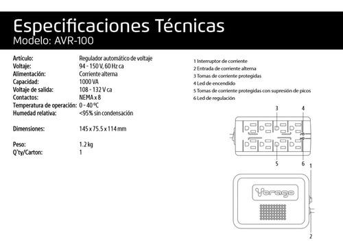 regulador de voltaje supresor de picos automatico para computadoras y electrodomesticos vorago