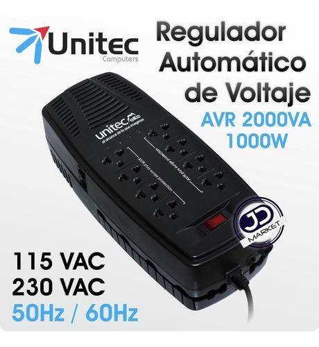 regulador de voltaje unitec de 2000va reales con 8 tomas