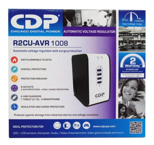 regulador voltaje 1000 va 500w 8 tomas 4 usb r2cu-avr1008