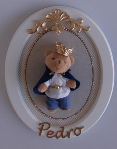rei ursinho porta maternidade luxo urso príncipe bebê coroa