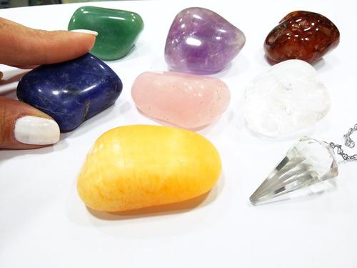 reiki radiestesia kit pêndulo+pedra 7chacras grande+apostila
