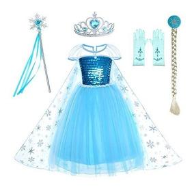 Reina De La Nieve Princesa Elsa Disfraz Niña Vestido Frozen