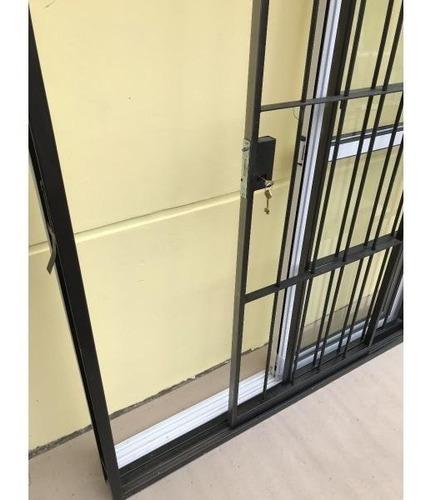 reja hierro corrediza balcon dos hojas c/cerradura 150x200
