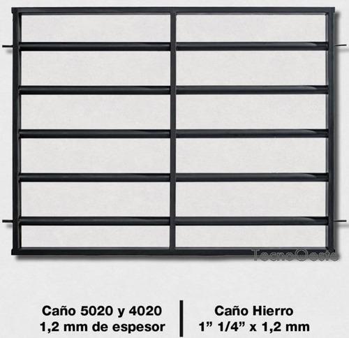 reja seguridad  tubos horizontales 150x110 c/marco y grampas