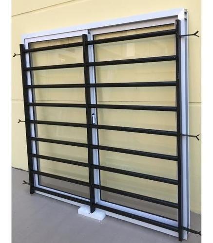 reja tubo horizontal  reforzada para ventana 200x150 anclaje dentro de mocheta