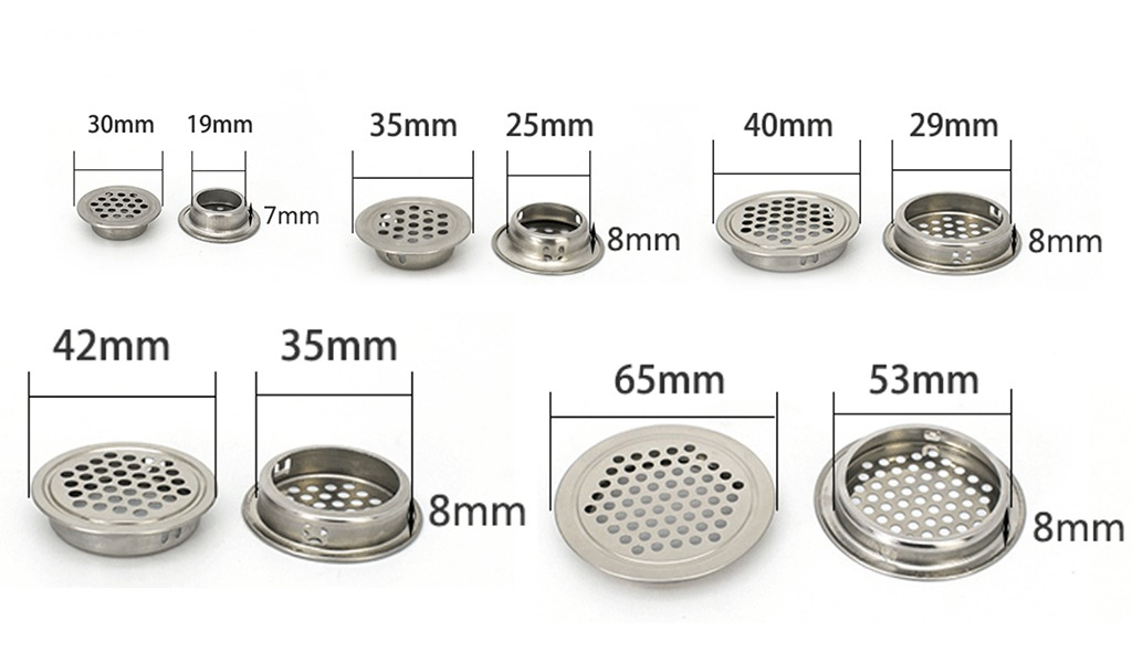 19mm Rejilla de ventilaci/ón Rejilla de acero inoxidable para armario Rejilla redonda de ventilaci/ón Rejilla de ventilaci/ón para armario de cocina