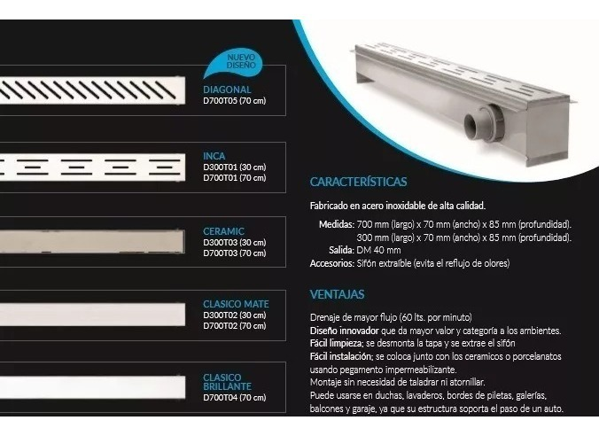 modelo: cl/ásico de montaje en pared / /Desag/üe para plano 75/cm /Canaleta para desag/üe de ducha acero inoxidable/