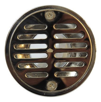rejilla estandar cromada con cuello 3½  x 2''