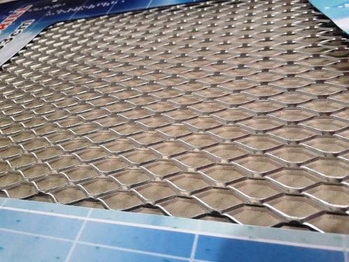 rejilla malla aluminio tuning racing parachoque plateado