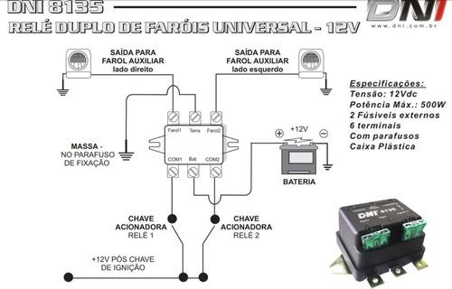 relê auxiliar duplo 500 w para farol d ford f100 f1000 f4000