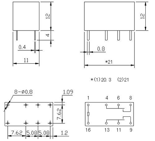 rele 2 contatos 2a / 5v * 8 pinos (lote de 5 peças)