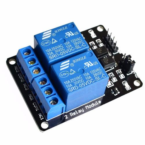 rele arduino 5v 220 v 2 canales con optoacoplador
