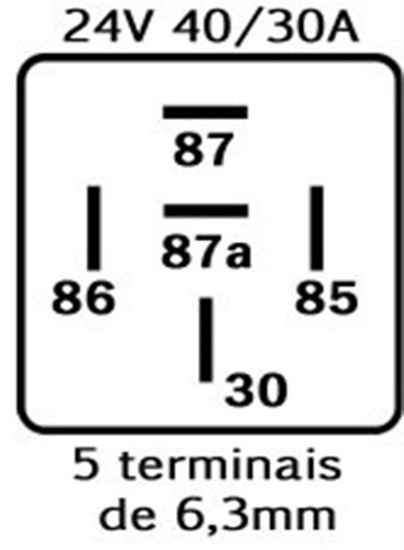 relé auxiliar reversível 5 term. 24v 40/30a caminhão ônibus