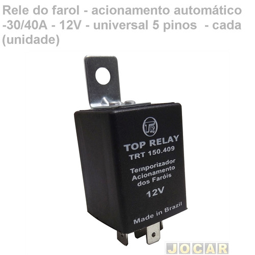 rele farol-aci automático -30/40a-12v-universal 5 pinos
