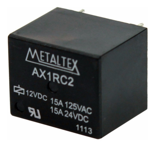 rele metaltex ax1rc2 12v 15a 125vac pinos (5 peças)