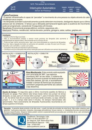 relé sensor de presença com fotocélula bivolt - qualitronix