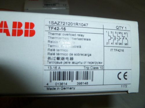 rele termico sobrecarga abb tf42 13-16amp trip clase 10