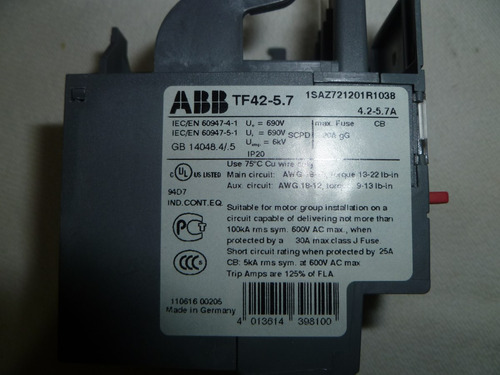 rele termico sobrecarga abb tf42 4,2-5,7amp trip clase 10
