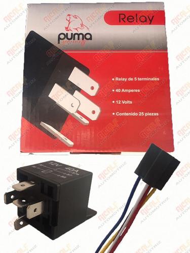 relevador relay puma 5 patas con arness 40a 12v