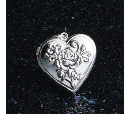 relicario colar com pingente de coração duas fotos