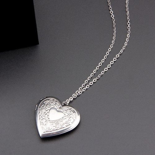 relicario collar para mujer corazón en acero inoxidable