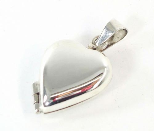 relicario corazon liso para 2 fotos guardapelo plata  ley925