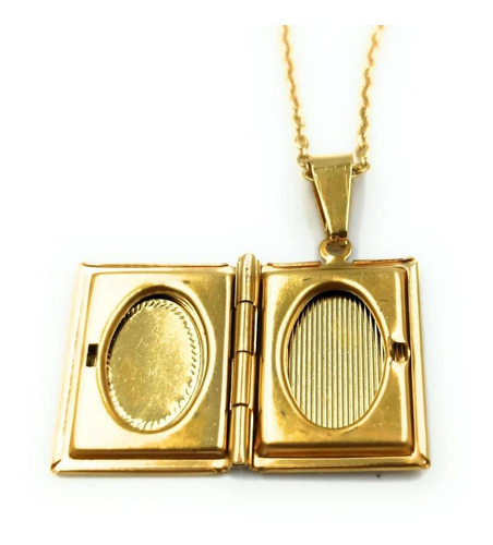 relicario forma de libro con cadena acero dorado