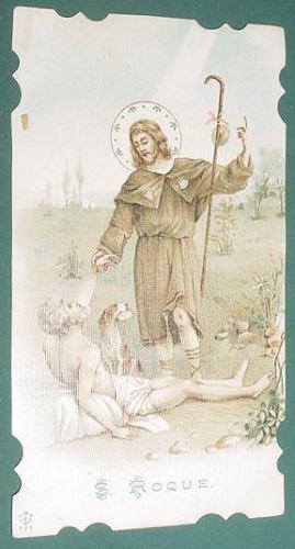 religion tarjeta antigua litografia san roque s/nscripciones