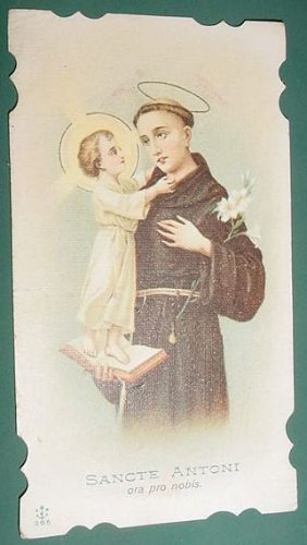 religion tarjeta antigua litografia sancte antoni san antoni