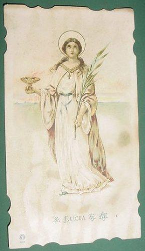 religion tarjeta estampa antigua santa lucia litografia