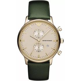 Relógio 0026g Empório Armani Ar1722 Verde Couro C/ Caixa